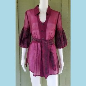NIC + ZOE Burgundy Embroidered Tunic Top with tie